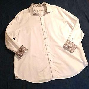 Robert Graham white paisley checker dress shirt